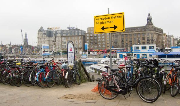 Wrongly parked bikes used to be a common sight in Dutch cities. Photo © Holland-Cycling.com